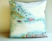 Throw pillow, map cushion, CARIBBEAN organic cotton,pillow, cushion cover, 16x16, 40cm cushion