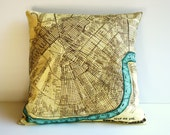 NEW ORLEANS map cushion cover, map pillow cover, 16inch, 41cm , organic cotton