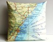 Cushion cover  map pillow street maps ,NSW coast, Australia organic cotton, map pillow, 16 inch pillow 40cm throw pillow