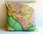 16 inch pillow WASHINGTON DC city map, cushion cover, vintage maps, 16 inch, 41 cms, decorative pillow