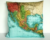 Cushion cover map pillow  MEXICO map cushion, throw pillow, organic cotton cushion covers, pillow, cushion 16x16