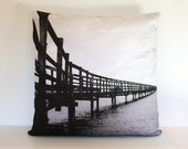 "throw cushion, BOARD WALK, photography, decorative pillow organic cotton cushion cover, pillow, 16"", 41cms"