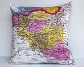 Cushion covers map pillows country maps BELGIUM, map cushion, pillows, organic cotton, pillow 16x16 cushions