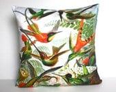 Ernst Haeckel fabric cushion/ HUMMINGBIRDS by Ernst Haeckel / Organic cotton/ 16 inch, 41cm