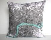 map pillow map cushion, organic cotton cushion LONDON Organic cotton map16 inch  cushion,cushion cover, pillow, 16 inch, 41cm