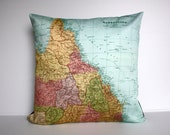 vintage map, pillow QUEENSLAND, AUSTRALIA map cushion, organic cotton cushion cover, pillow, cover, 16 inch, 41cm