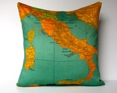 Cushion cover pillow cover map cushion, map ITALY organic cotton pillow 16 inch pillow cover 40cm cushion