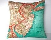 Decorative throw pillow NEW JERSEY map cushion Organic cotton, pillow cover, cushion, 16 x16inch 40cm