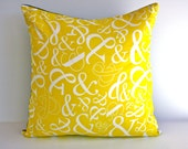 Yellow Cushion cover pillow AMPERSAND cushion in yellow cushion, yellow pillow cover organic cotton, 16 x16 inch pillow.