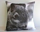 SQUIRREL animal cushion, animla theme,  organic cotton, monochrome kids decor 16 inch / 40cm
