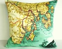 Vintage map print cushion / 16 inch cushion / HOBART TASMANIA