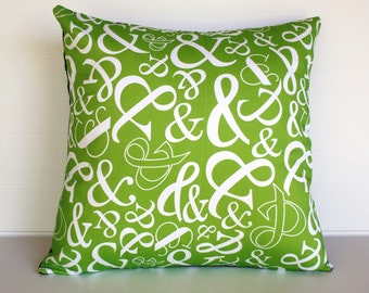 Green decorative pillow, cushion cover Ampersand typography, green, 16 inch, 41cm