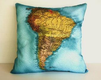 Map pillow cover/ vintage map pillow/ decorative pillow / SOUTH AMERICA map cushion/ Organic cotton/ 16x16 inch pillow, 40cm cushion/