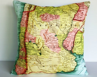 Vintage map print pillow cover ARGENTINA/ Organic cotton / 16 inch pillow
