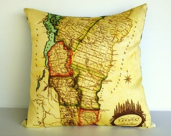 Map print pillow cushion / Organic cotton map/  VERMONT map pillow cover, 16x16 cushion