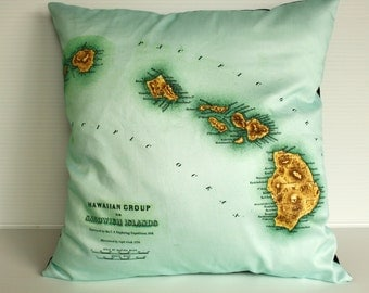 Pillow cover, map cushion, pillow, eco friendly Organic cotton vintage map of Hawaii, 16 inch pillow 41cm