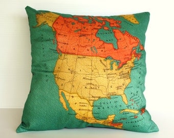 cushion cover, pillow NORTH AMERICA Organic cotton map cushion, throw pillow  map pillow Decorative pillow 16 x 16 pillow, vintage map