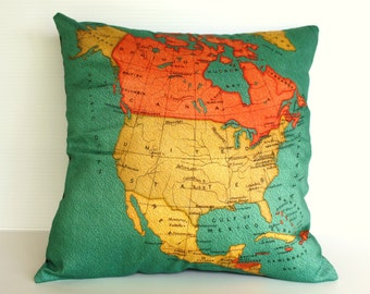 cushion cover, pillow NORTH AMERICA Organic cotton map cushion, throw pillow  map pillow Decorative pillow 16 x 16 pillow