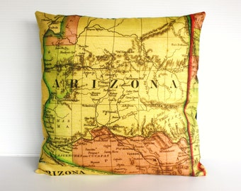 decorative throw pillow ARIZONA organic cotton vintage map cushion, cushion cover throw cushion,16 inch pillow