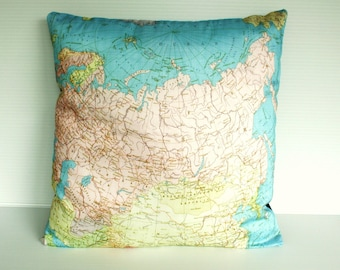 Cushion cover pillow RUSSIA Organic cotton cushion cover, map pillow of Russian Federation, map cushion, 16 inch 41cm