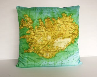 Vintage map pillow Iceland/ Cushion cover pillow map/ organic cotton cushion/ map pillow/ decorative pillow 16x16 / throw cushion
