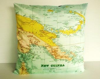 Pillow cover, PAPUA NEW GUINEA Organic cotton map cushion, 16 x16, 40cm map pillow decorative pillow