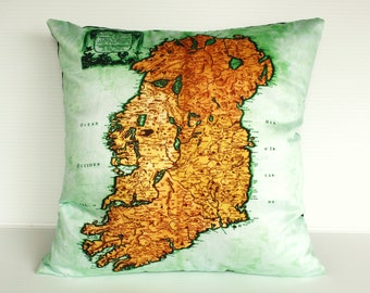 decorative pillow IRELAND Organic cotton cushion cover, map cushion, pillow, 16 inch pillow throw pillow