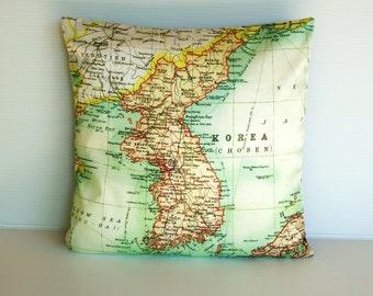 map pillow KOREA map organic cotton map cushion 16 inch cushion cover, organic cotton, vintage map