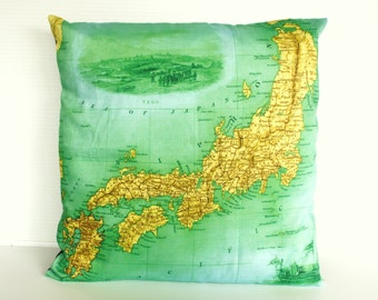 Vintage map print Japan Cushion cover/ organic cotton cushion cover/ 16 inch pillow cover / 40cm cushion cover