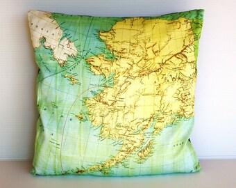 Cushion cover. Map pillow ALASKA Organic cotton map cushion, pillow, throw pillow cushion cover 16x16