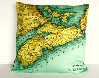 Vintage Map pillow cushion NOVA SCOTIA / organic cotton /pillow cover 16x16