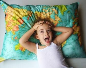 FLOOR CUSHION WORLD map  cushion, giant organic cotton cushion cover, bean bag, world map cushion, pillow 86cm/34inches x 61cm/ 24 inches .