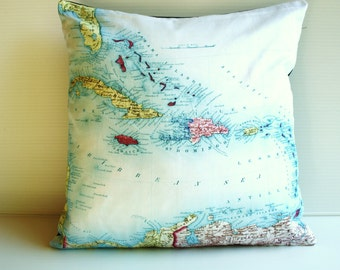 Throw pillow, map cushion, CARIBBEAN organic cotton,pillow, cushion cover, 16x16, 40cm cushion
