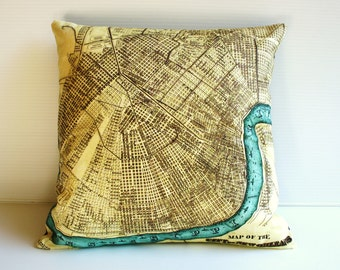 vintage map pillow, NEW ORLEANS map cushion cover, map pillow cover, 16inch, 41cm , organic cotton, antique maps, square map pillow, cushion