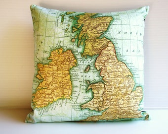 Vintage map decorative pillow cushion cover UK - map pillow organic cotton, pillow, 16 inch, 41cms cushion cover