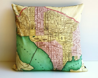Vintage city map/ Washington State / 16 inch pillow / cushion cover/  16 inch pillow / 41cm cushion/ decorative pillow