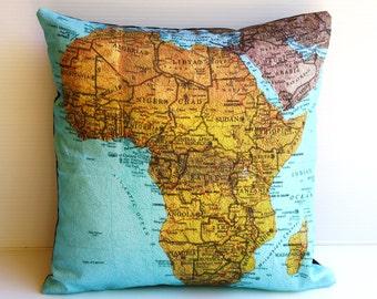 map pillow, cushions AFRICA Organic cotton decorative throw pillow  cushion cover, pillow,16 inch cushion, 40cm cushion