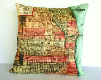 Decorative Pillow cover vintage city maps CHICAGO map cushion cover, organic cotton 16x16 inch pillow