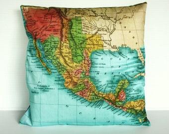 Cushion cover map pillow  MEXICO map cushion, throw pillow, organic cotton cushion covers, pillow, cushion 16x16