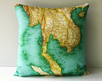Second anniversary gift cotton, Pillow cover 16x16 map cushion, THAILAND map organic cotton, map pillow, throw cushion, cushion cover