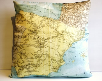 Vintage map print pillow SPAIN / organic cotton/ cushion cover/ pillow cover/ 16 inch, 41cms