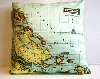 Throw pillow map cushion, THE BAHAMAS organic cotton cushion cover, 16x16 inch cushion 40cm pillow