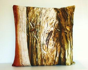 """16x16 pillow, throw cushion, decorative pillow,  WOOD cushion, organic cotton cushion cover, pillow, 16"""" pillow, photography pillow"""