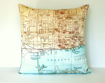 throw pillow, cushion cover, map pillow, TORONTO,map pillow organiccotton 16x16 inch , 40cm pillow