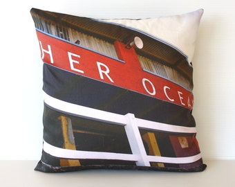 Cushion cover, decorative pillow, throw cushion MEREWETHER OCEAN baths, Newcastle, Australia - organic cotton cushion cover