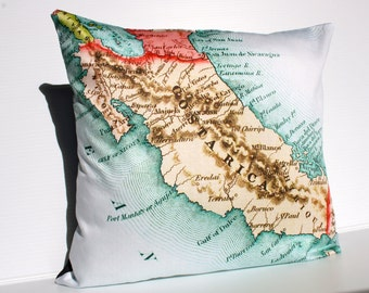 Cushion covers map pillows COSTA RICA vintage map pillow, organic cotton, Cushion cover,  map pillow, 16 inch, 41cm