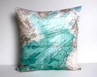 eco friendly cushion map pillow cover ATLANTIC OCEAN decorative pillow, cushion,cushion cover, pillow, 16 inch, 41cm