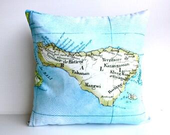 Vintage map print pillow BALI / organic cotton pillow/ 16x16 pillow/ map cushion