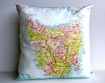 Cushion cover, pillow map cushion of TASMANIA, 16 inch, 41cm, organic cotton, decorative pillow cover