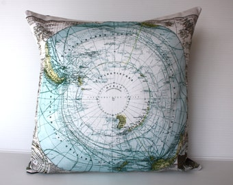 Decorative pillow Cushion cover SOUTH POLE MAP, Organic cotton eco friendly cushion,cushion cover, pillow, 16 inch, 41cm  throw cushion